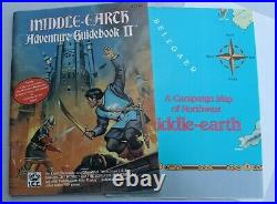 1ST EDITION LOTR MIDDLE EARTH ROLE PLAYING ADVENTURE GUIDE II With MAP POSTER 2210