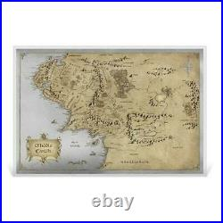 2021 Lord of the Rings Middle Earth Map 35g Silver Foil Poster 2,000 Made