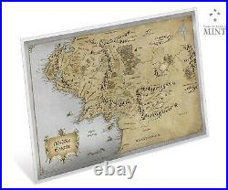 2021 Niue Lord of the Rings Middle Earth Map 35g Silver Foil Poster 2,000 Made