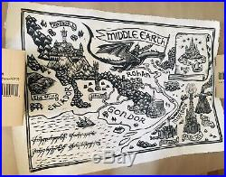 Brian Reedy Bottleneck Lord of the Rings Middle Earth Map Linocut Signed 76/150