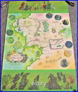 J. R. R. Tolkien The Hobbit Lord Of The Rings Stunning Rare Middle Earth Map 1978