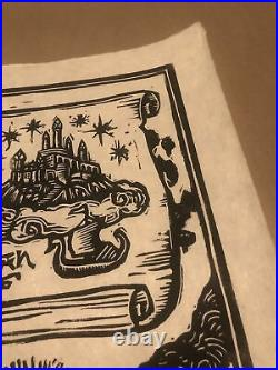 Lord Of The Rings Middle Earth Map Brian Reedy Signed Linocut Print NT Mondo
