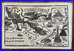 Lord Of The Rings Middle Earth Map By Brian Reedy Signed Linocut Print NT Mondo