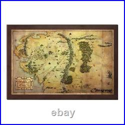 MGM HOBBIT AN UNEXPECTED JOURNEY MIDDLE EARTH WOOD WALL MAP JRR TOLKIEN 16 x 10