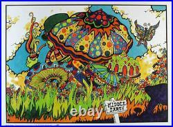 Middle Earth VTG Original 60s Psychedelic Mushroom Poster Head Shop dRuGs lotr
