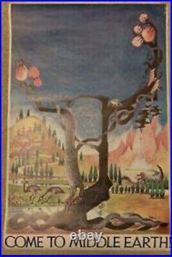 NOS RARE Barbara Remington Poster Tolkien Come To Middle Earth Ballantine