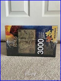 RARE Unopened Aquarius Lord Of The Rings 3000 Piece Puzzle Map of Middle Earth
