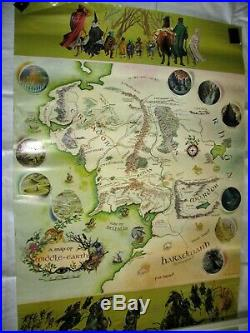 Vintage 1970 Lord of the Rings Map of Middle Earth Poster, Pauline Baynes, Hobbit
