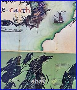 Vtg TOLKIEN Middle Earth Map LOTR Original POSTER Pauline Baynes 1970