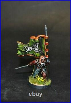 Warhammer lotr Middle Earth Gamling with Rohan Royal Banner painted (metal)