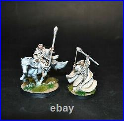 Warhammer lotr Middle Earth Gandalf the White on Shadowfax and Pippin painted