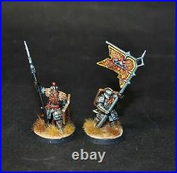 Warhammer lotr Middle Earth Iron Hills Dwarf Warriors with Command painted