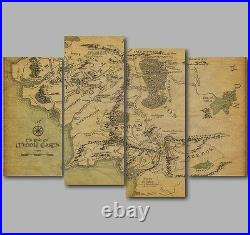 XL Lord of the Rings Map of Middle Earth 4 Panel Split Canvas Picture Wall Art